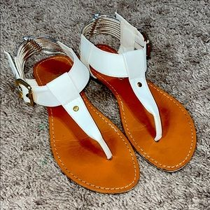 White and Tan Sandals Size 6.5